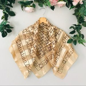 Christian Dior Gold Silk Square Scarf
